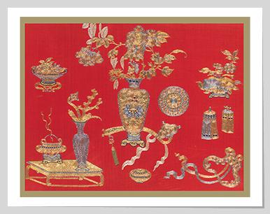 Scholar's objects and auspicious emblems