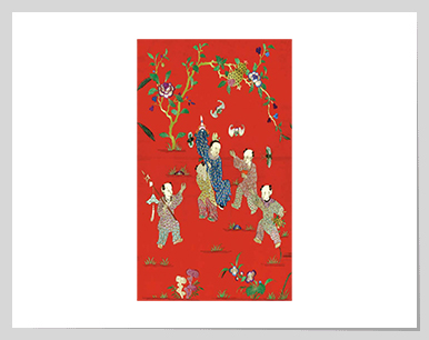 Children playing among auspicious flowers and fruits, Silk embroidery with fine satin stich. China, circ 19th century. 童孩玩樂